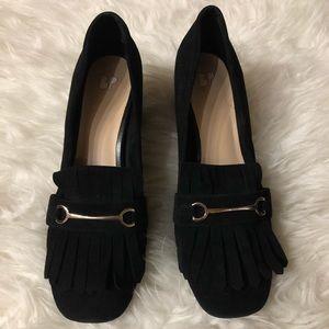 BP. Suede fringe loafer style heels size 8
